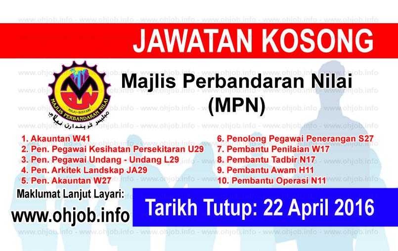 Jawatan Kerja Kosong Majlis Perbandaran Nilai (MPN) logo www.ohjob.info april 2016