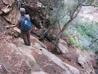 Climbing down to Leontine Falls