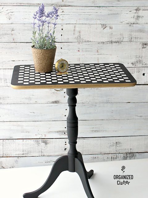 Flip Top Table Upcycle #dixiebellepaint #stencil #mackenziechildsinspired #checks #upcycle
