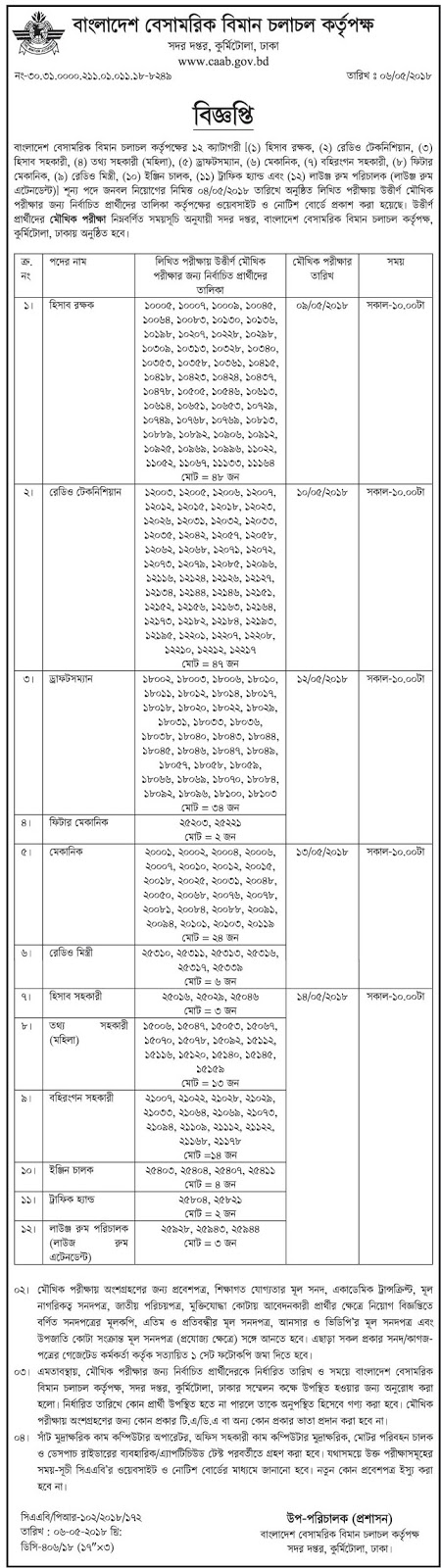 Civil Aviation Authority of Bangladesh Recruitment Exam Result and Viva Seat Plan