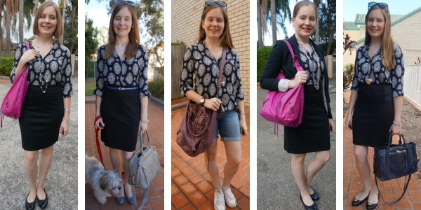 5 ways to wear a navy printed shift dress as a top work and casual | away from blue