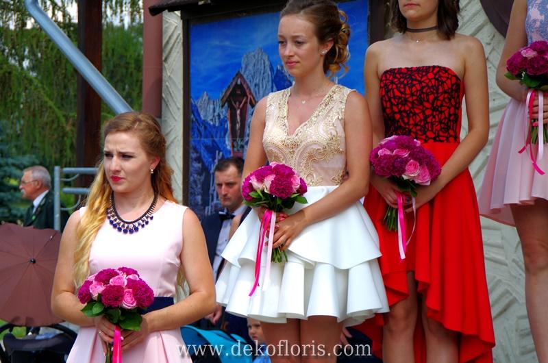 bukiety druhny fuksja i różowy