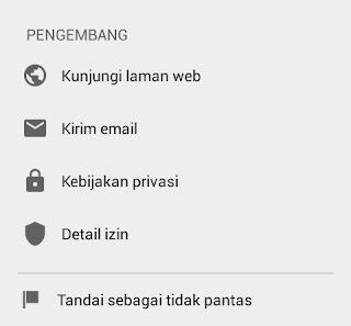 Halaman pengembang app di playstore