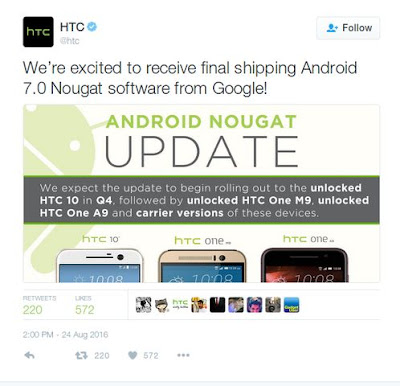 HTC 10, One A9 dan One M9 Update Android N