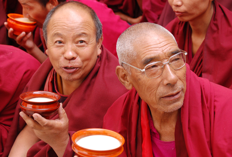 Tibetan monks drinking Po Cha, or better known in the west