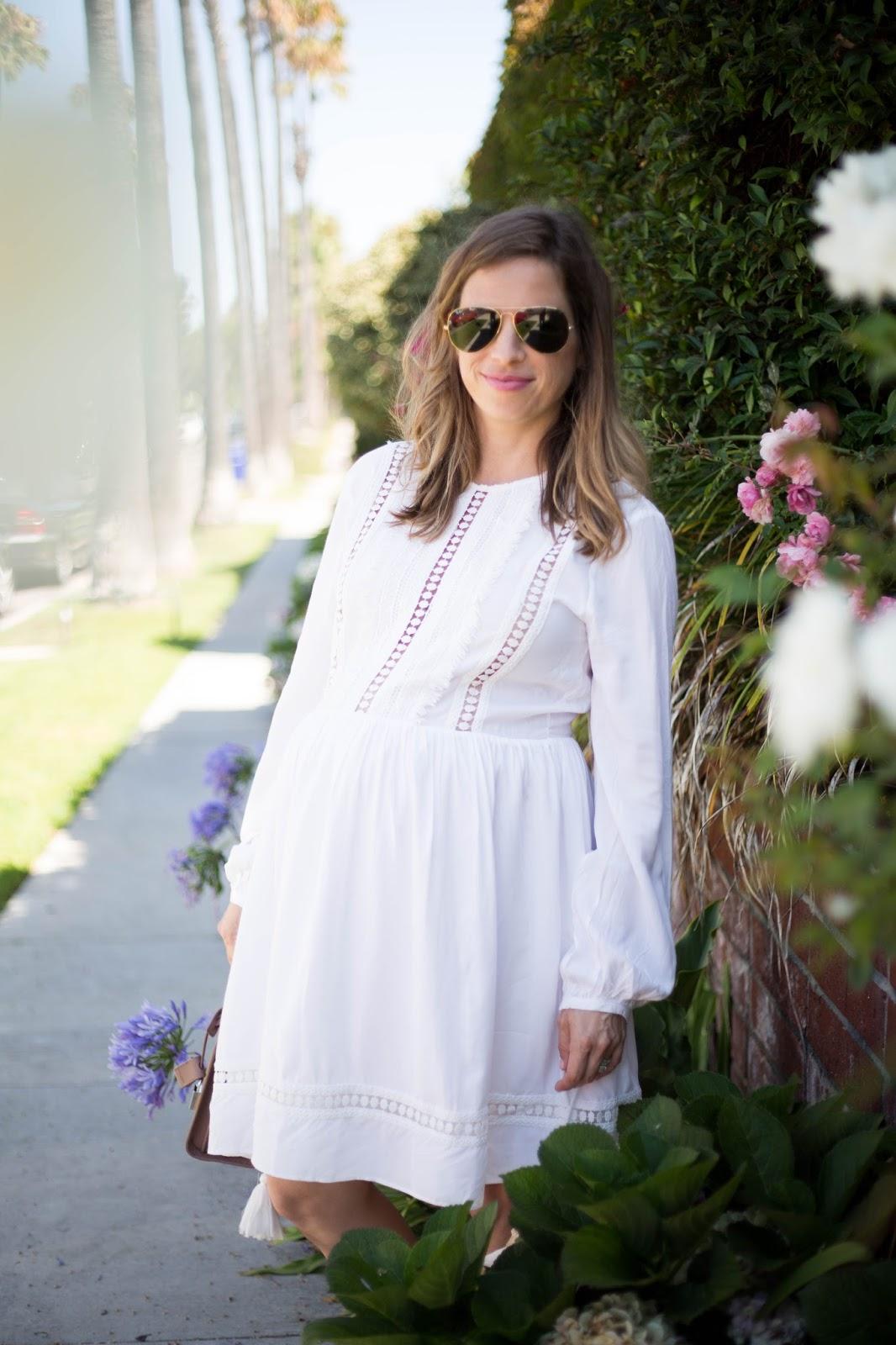 white dress blogger style
