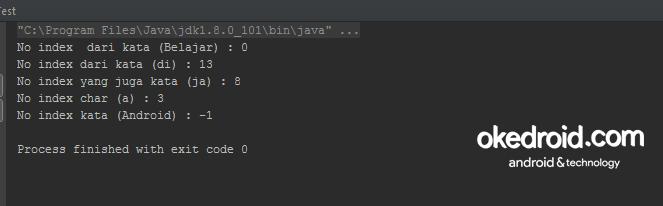 Di dalam class library String pada bahasa pemrograman Java Belajar Mengenal Fungsi indexOf String pada Program Java
