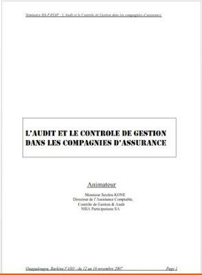 Télécharger gratuitement ebook sur L'Audit et le Contrôle de Gestion dans les compagnies d'assurance  ,fichier PDF