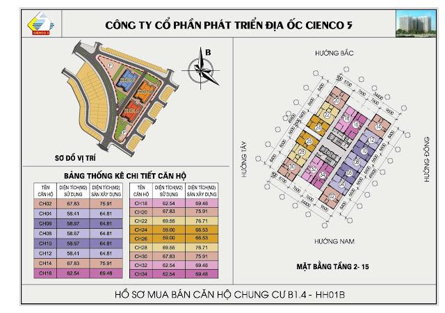 Tổng thể chung cư Thanh Hà Cienco 5 tầng 2 đến tầng 15