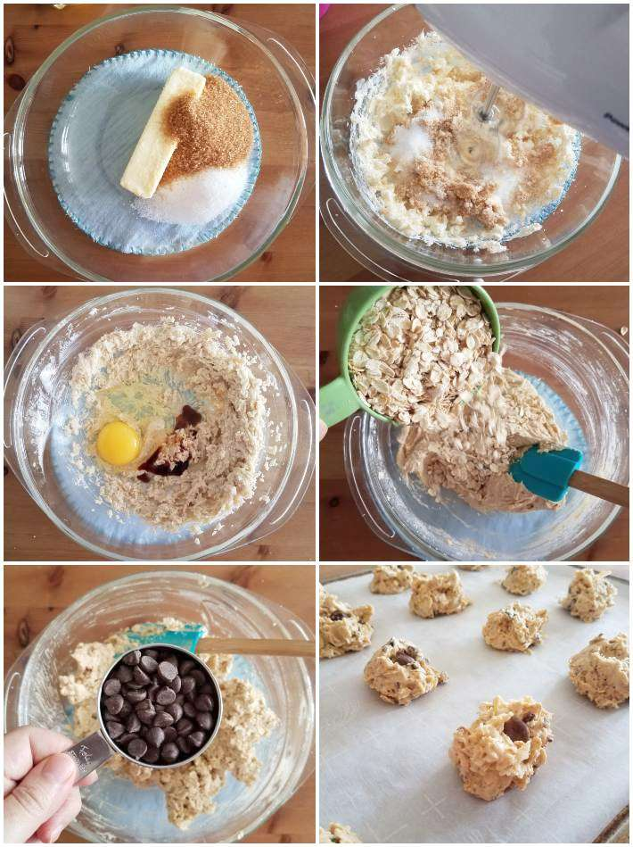 Preparación de la masa de las galletas de avena paso a paso, collage de 6 fotos
