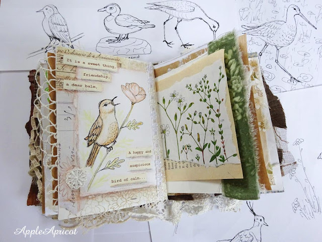 mixed media journal and bird illustrations by AppleApricot Wen