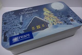 Weihnachtdose bedruckt mit Haus und Wald