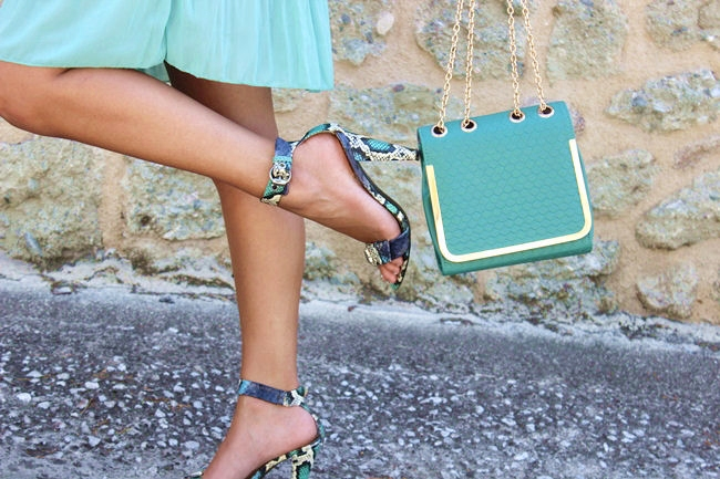 blue green snakeskin sandals