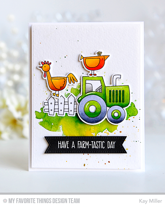 Handmade card from Kay Miller featuring Farm-tastic stamp set and Die-namics, Farm Fence, Fishtail Flags STAX Die-namics #mftstamps