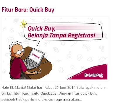 Masalah dalam quick buyer di Bukalapak.