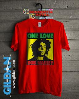 Baju Kaos Distro Bob Marley Poster Warna Orange