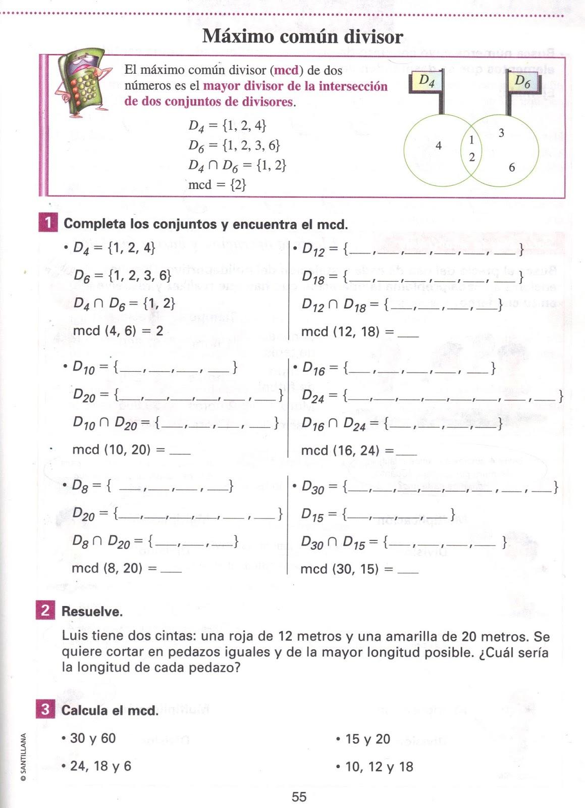 Único Hoja De Factoring Máximo Común Divisor Viñeta - hojas de ...