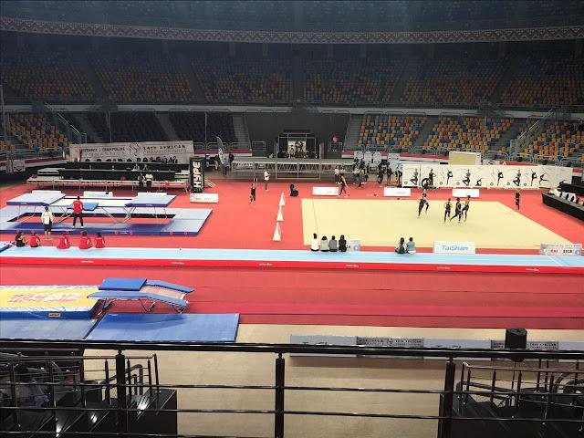 إستاد القاهرة يزين الصالة المغطي لاستقبال إفتتاح البطولة الإفريقية للجمباز