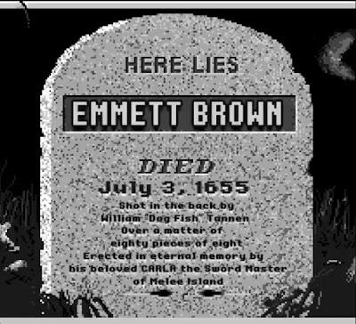 La lápida de Doc Emmet Brown en Isla Melee