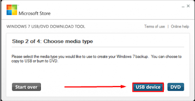 Windows 7 USB DVD Download Tool - choose USB device