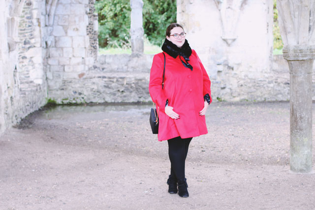 Plus size red winter coat