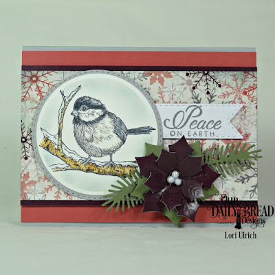 Our Daily Bread Designs Stamp Set: Winter Chickadee, Paper Collection:  Christmas 2017, Custom Dies: Pine Branches, Circles, Double Stitched Circles, Peaceful Poinsettias, Double Stitched Pennant Flags