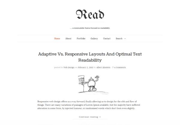 Read WP minimalist simple theme