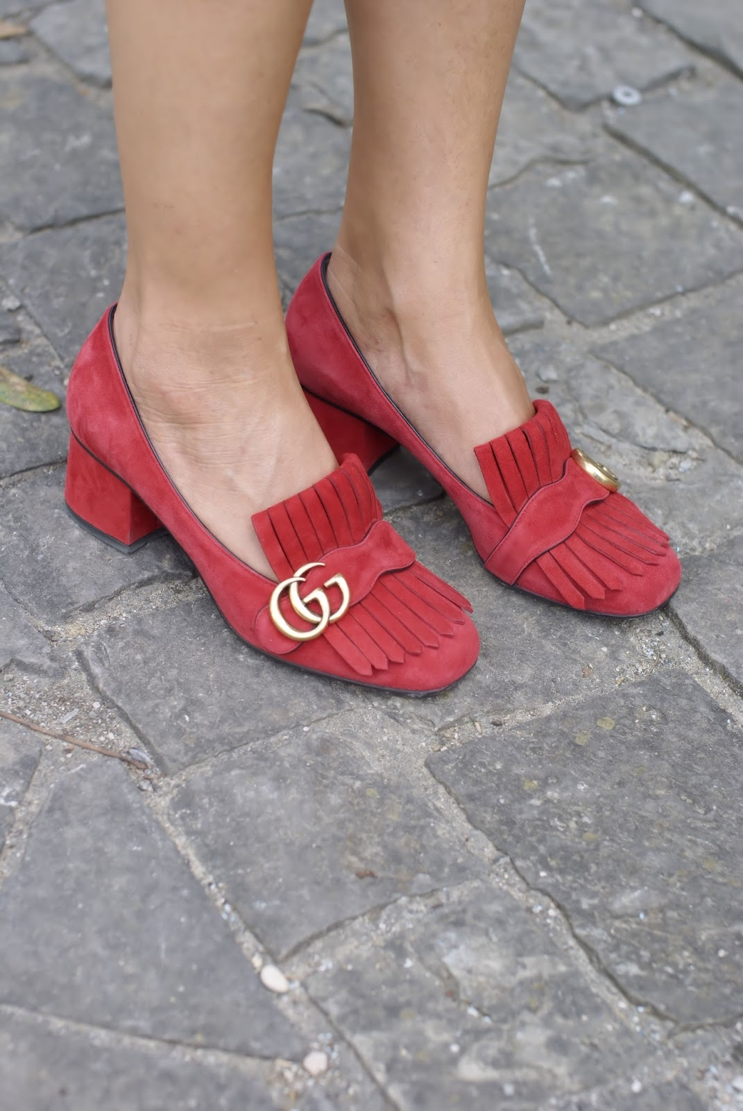 Gucci red loafers on Fashion and Cookies fashion blog, fashion blogger style