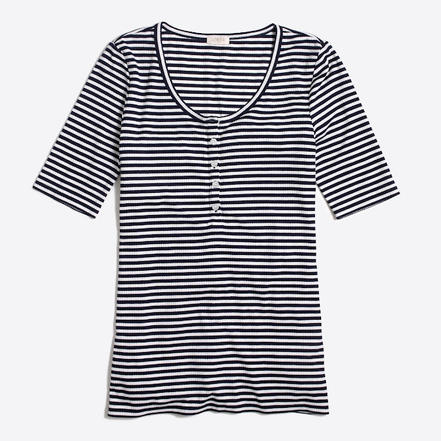 J. Crew Factory: Striped Henley only $5 (reg $37) + Free Shipping!