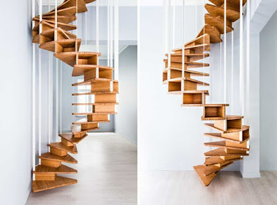 contemporary wooden spiral stairs design with metal staircase handrails