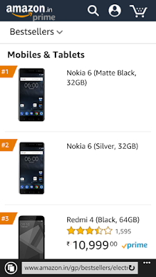 Nokia 6 Amazon India Bestseller