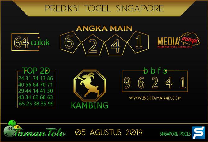 Prediksi Togel SINGAPORE TAMAN TOTO 05 AGUSTUS 2019