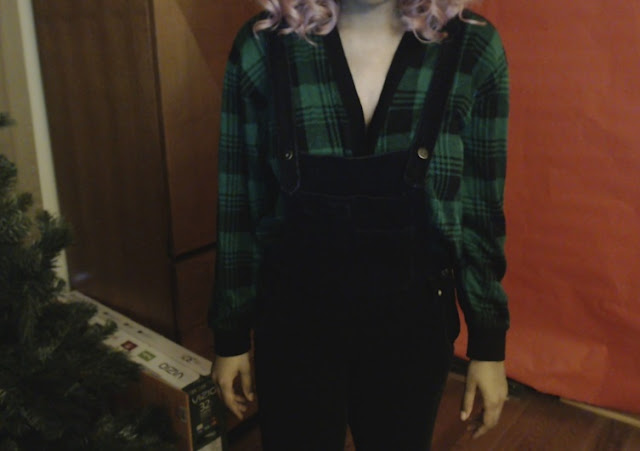 black overalls green plaid cardigan cute winter outfit grunge pastel goth ootd fashion blogger chipmunk fairy queen pastel pink hair youtube tumblr outfits