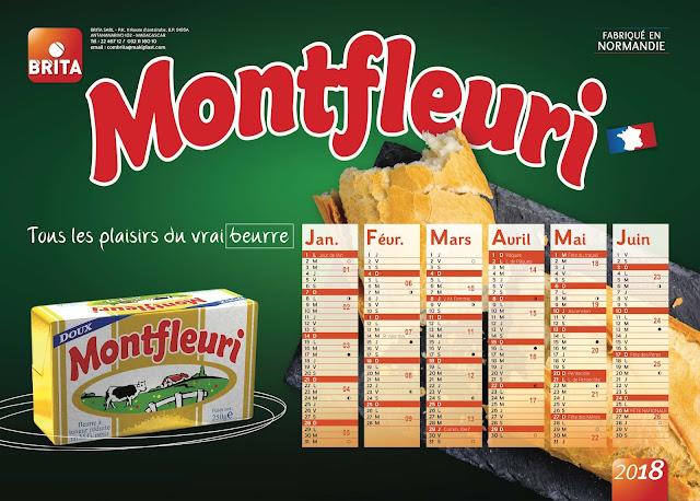création calendrier plateau beurre Monfleuri 2018, recto