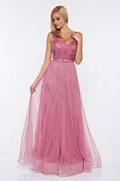 Rochie Ana Radu rosa de seara cu bretele accesorizata cu cordon
