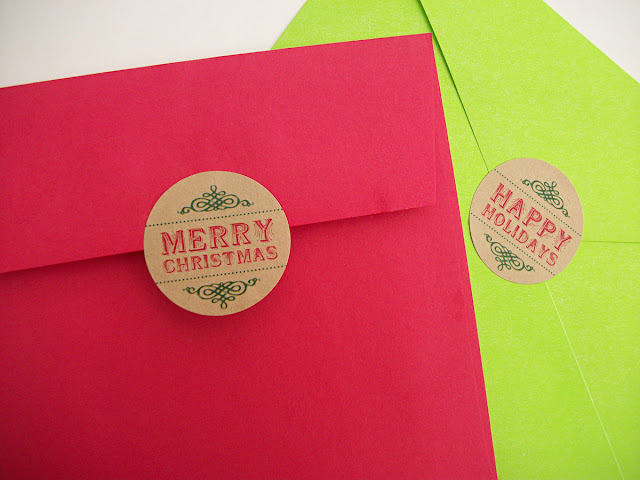 Merry Christmas Happy Holidays envelope seals