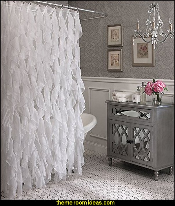 glam bathroom decorating Cascade Shabby Chic Ruffled Sheer Shower Curtain