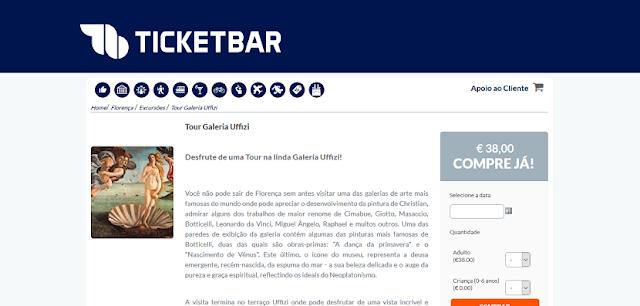 Ticketbar para ingresssos para o tour pela Galeria Uffizi em Florença