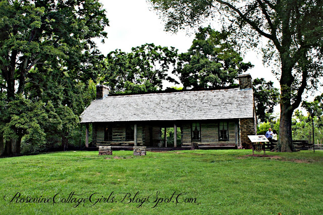 Two Log Cabins with a dog run inbetween them in a green pasture with large trees original cabins at the Belle Meade Plantation | rosevinecottagegirls.com | (c) Rosevine Cottage Girls