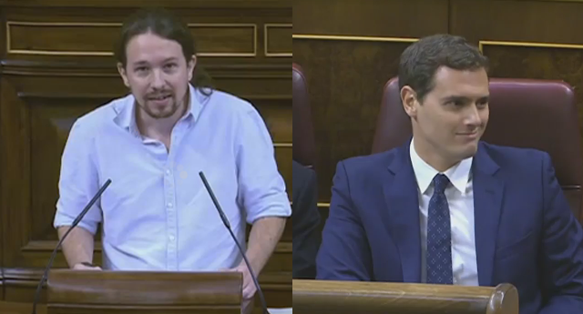 (VIDEO) Pillan a Albert Rivera insultando a Pablo Iglesias durante su intervención
