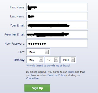 Signup your facebook account