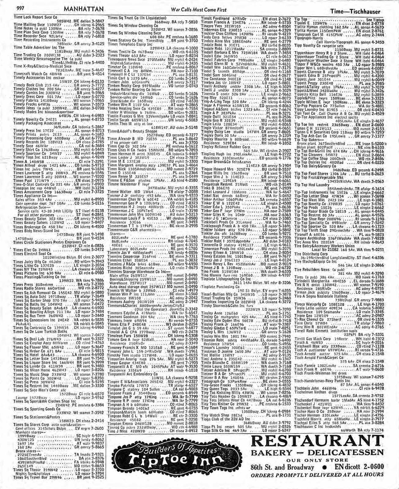 December 1942, New York Telephone CompanyPage 390: Goodman Martin Pubr 330 W  42u2026u2026.BR Yant 9 5965 (McGraw Hill Address)