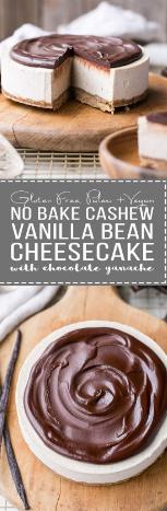 No-Bake Vanilla Bean Cheesecake with Chocolate Ganache