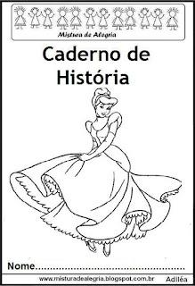 Capa para caderno história princesas