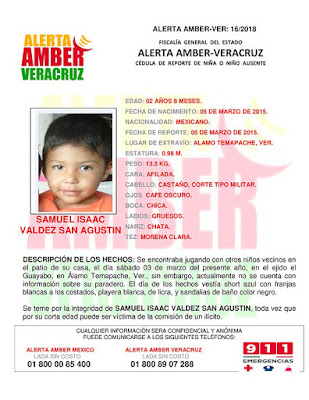 Activan Alerta Amber para Samuel isaac Valdez en Alamo Veracruz