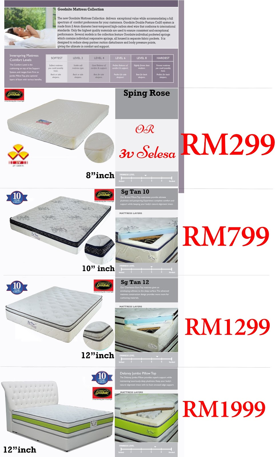 SG TAN 3V Goodnite Promo Mattress