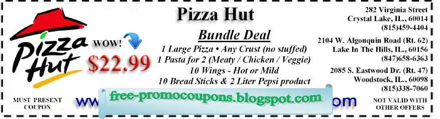 Coupon pizza hut avril 2018