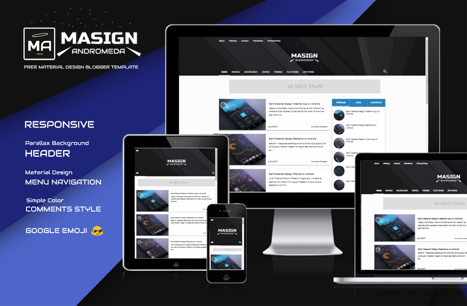 Masign Andromeda Responsive Material Design Blogger Template