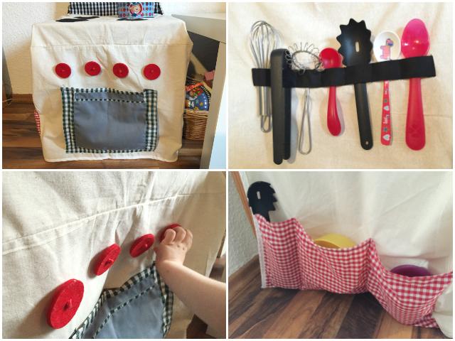 Stuhlküchen-Details: Backofen, Kochlöffelhalter und Seitentaschen. Die Knöpfe kann man drehen!