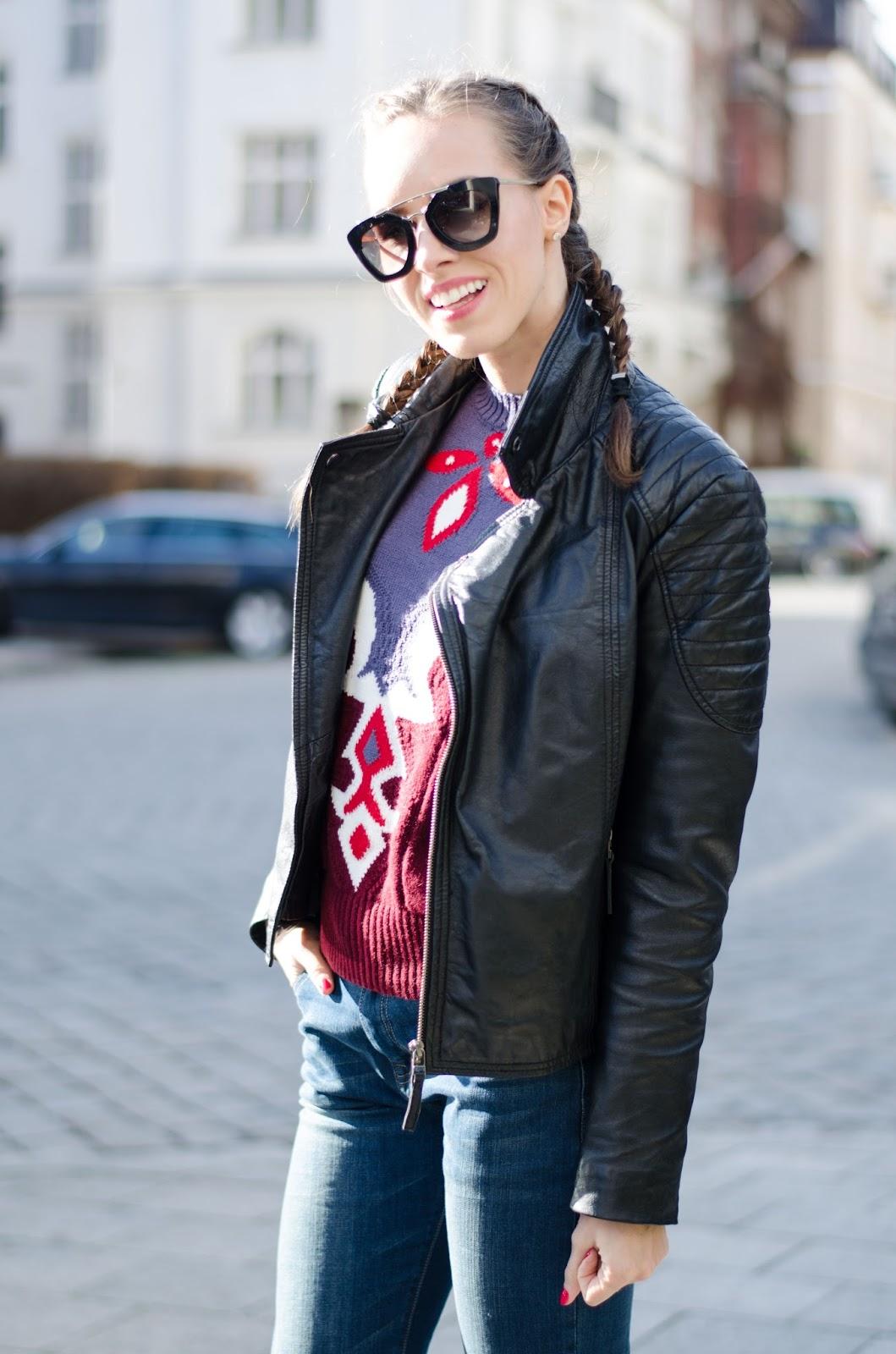 kristjaana mere leather jacket printed sweater french braids
